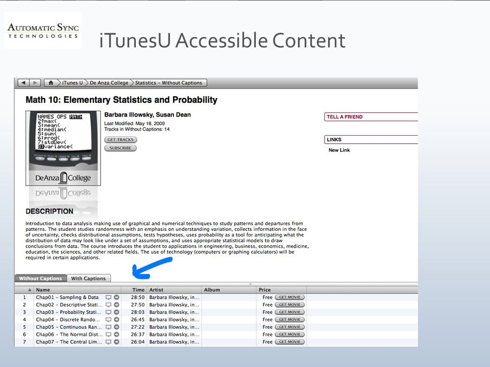 iTunesU Accessible Content