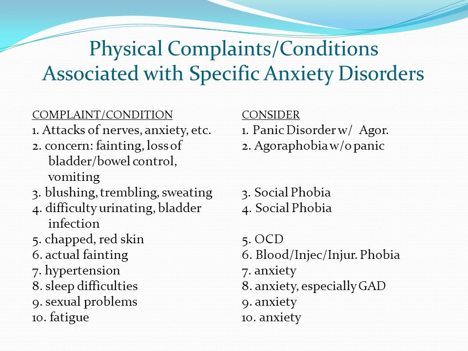 Physical Complaints/Conditions Associated with Specific Anxiety Disorders COMPLAINT/CONDITION 1. Attacks of nerves, anxiety, etc. 2. concern: fainting