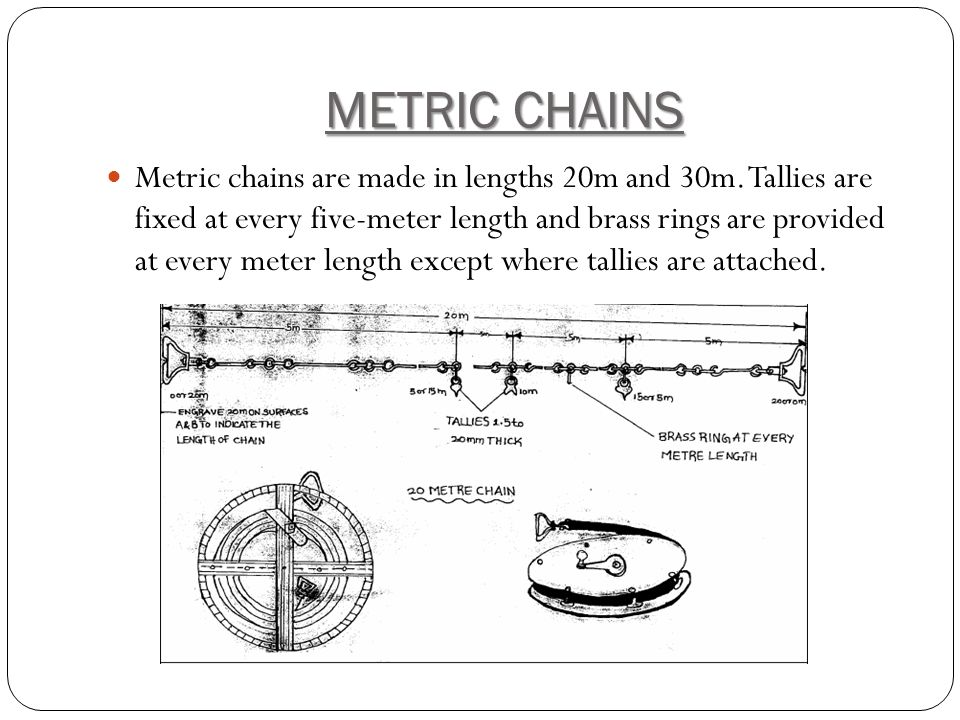 METRIC CHAINS Metric chains are made in lengths 20m and 30m.