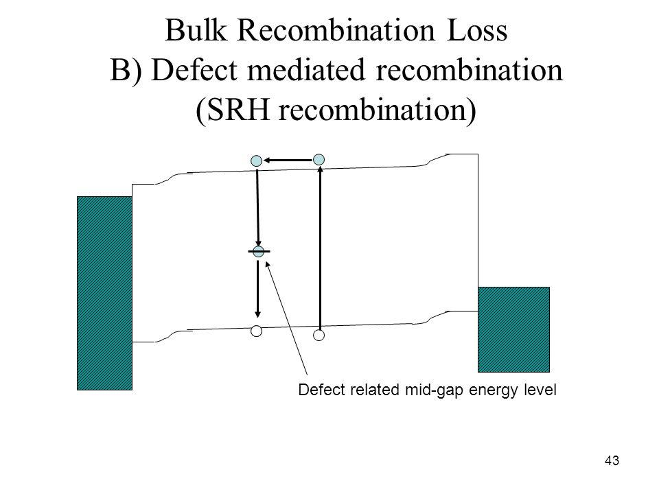43 Bulk Recombination Loss B) Defect mediated recombination (SRH recombination) Defect related mid-gap energy level