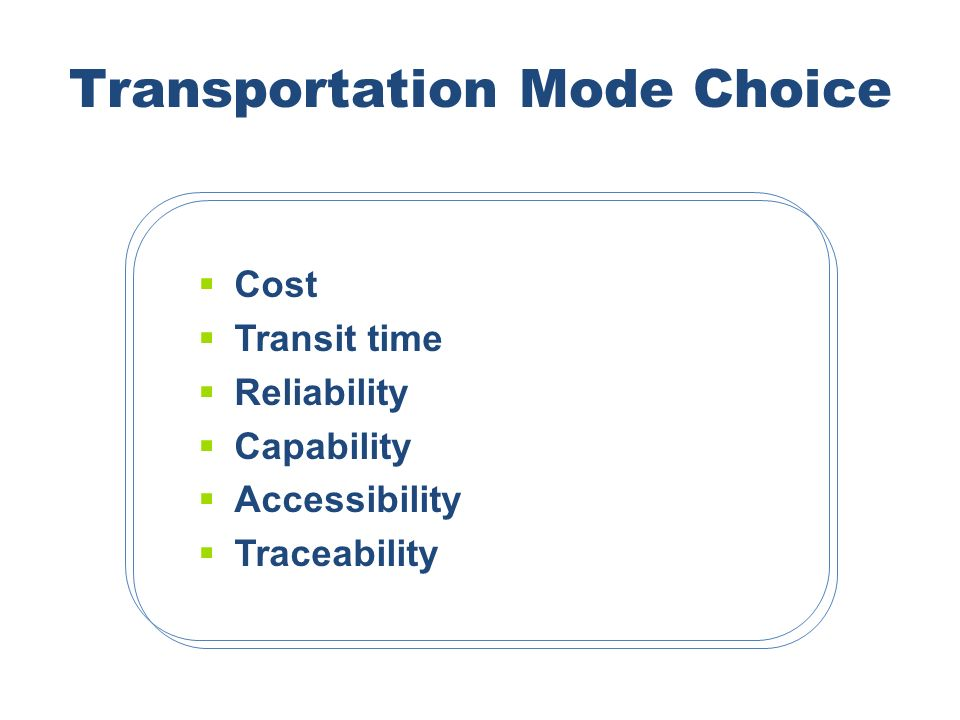 Transportation Mode Choice Cost Transit time Reliability Capability Accessibility Traceability