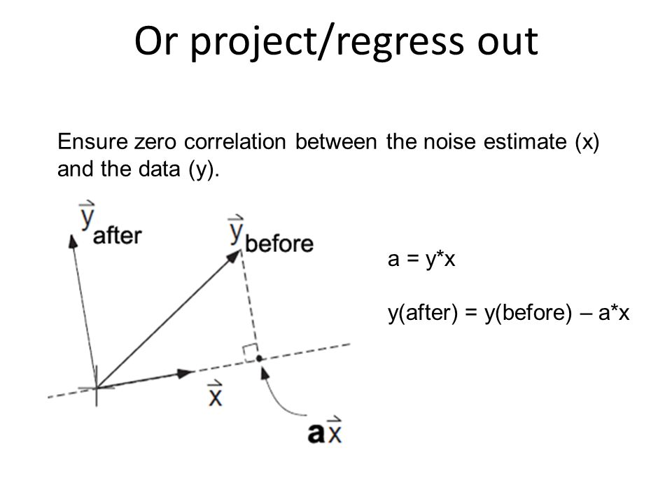Or project/regress out Ensure zero correlation between the noise estimate (x) and the data (y). a = y*x y(after) = y(before) – a*x