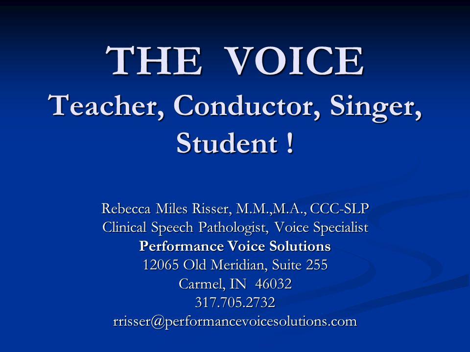 THE VOICE Teacher, Conductor, Singer, Student ! Rebecca Miles Risser, M.M.,M.A., CCC-SLP Clinical Speech Pathologist, Voice Specialist Performance Voi