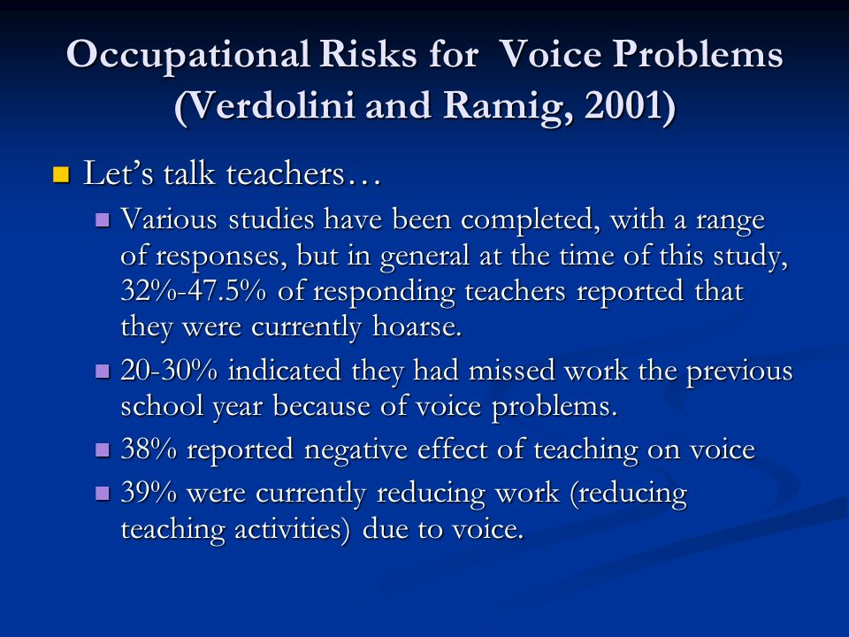 Occupational Risks for Voice Problems (Verdolini and Ramig, 2001) Lets talk teachers… Lets talk teachers… Various studies have been completed, with a