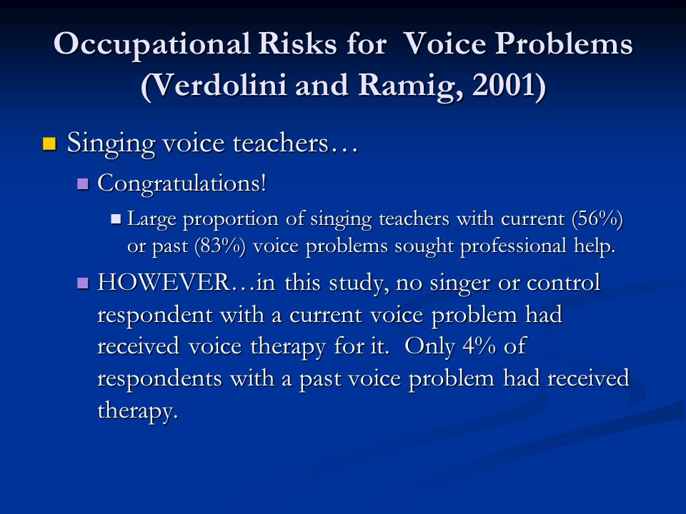 Occupational Risks for Voice Problems (Verdolini and Ramig, 2001) Singing voice teachers… Singing voice teachers… Congratulations! Congratulations! La