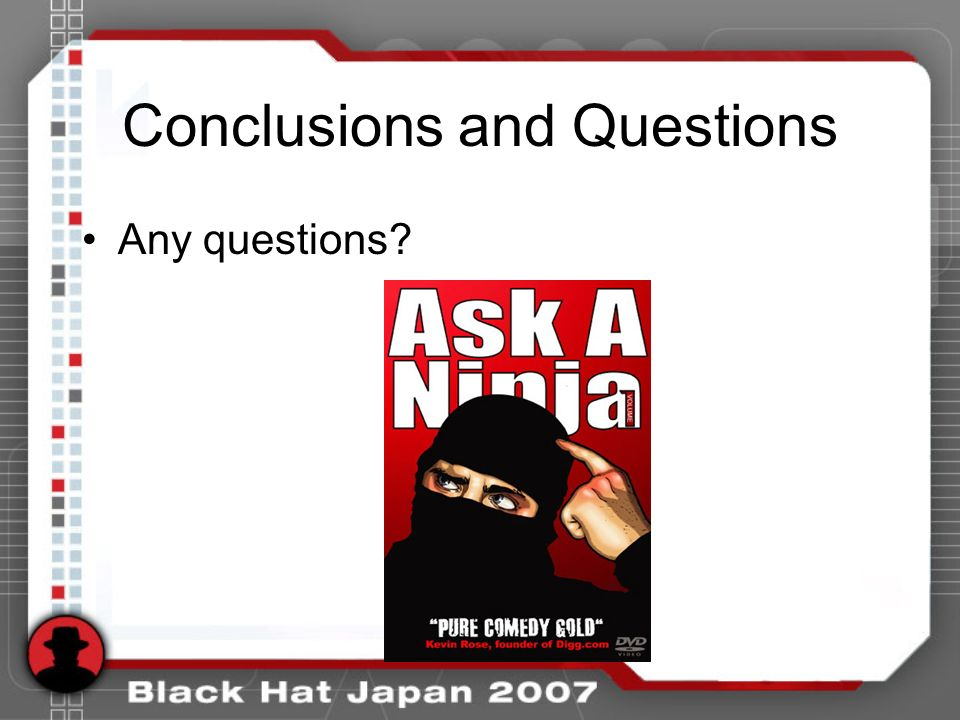 Conclusions and Questions Any questions?