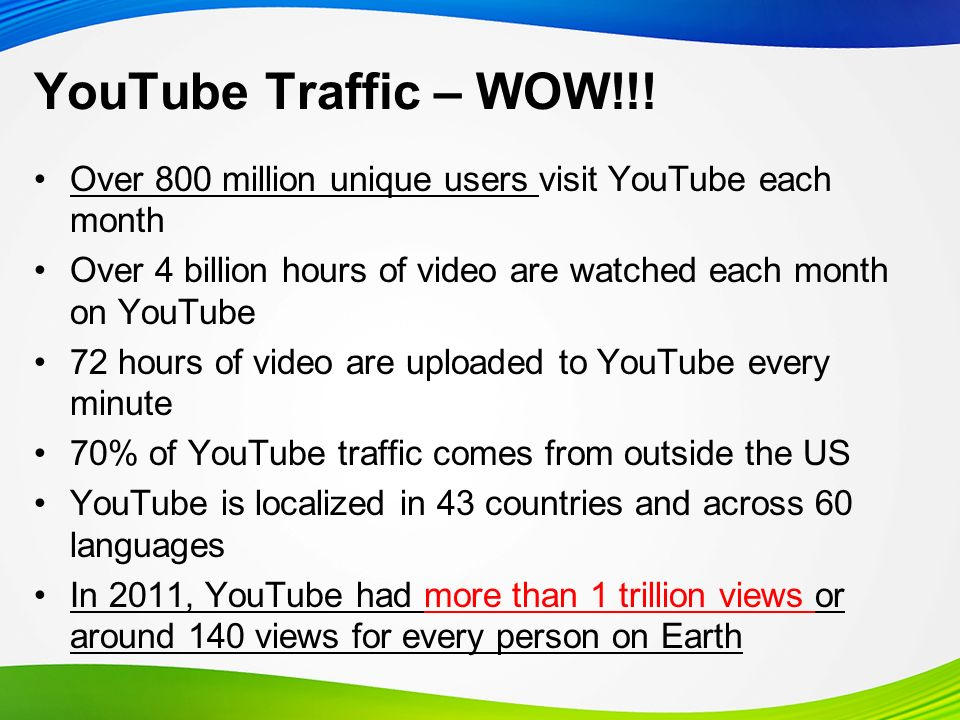 YouTube and Mobile Traffic from mobile devices tripled in 2011 More than 20% of global YouTube views come from mobile devices 3 hours of video is uploaded per minute to YouTube from mobile devices YouTube is available on 350 million devices
