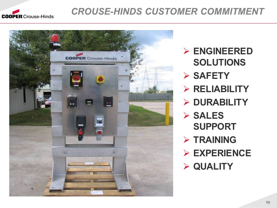 15 CROUSE-HINDS CUSTOMER COMMITMENT ENGINEERED SOLUTIONS SAFETY RELIABILITY DURABILITY SALES SUPPORT TRAINING EXPERIENCE QUALITY