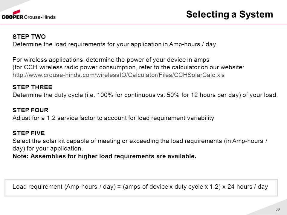 30 Selecting a System STEP TWO Determine the load requirements for your application in Amp-hours / day.