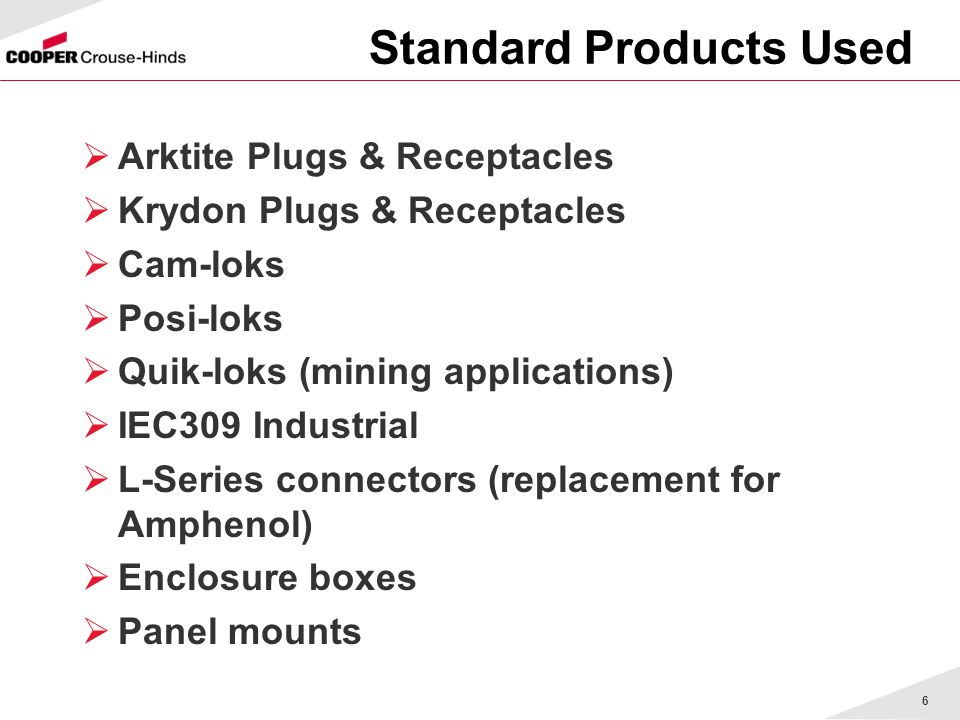 6 Standard Products Used Arktite Plugs & Receptacles Krydon Plugs & Receptacles Cam-loks Posi-loks Quik-loks (mining applications) IEC309 Industrial L-Series connectors (replacement for Amphenol) Enclosure boxes Panel mounts