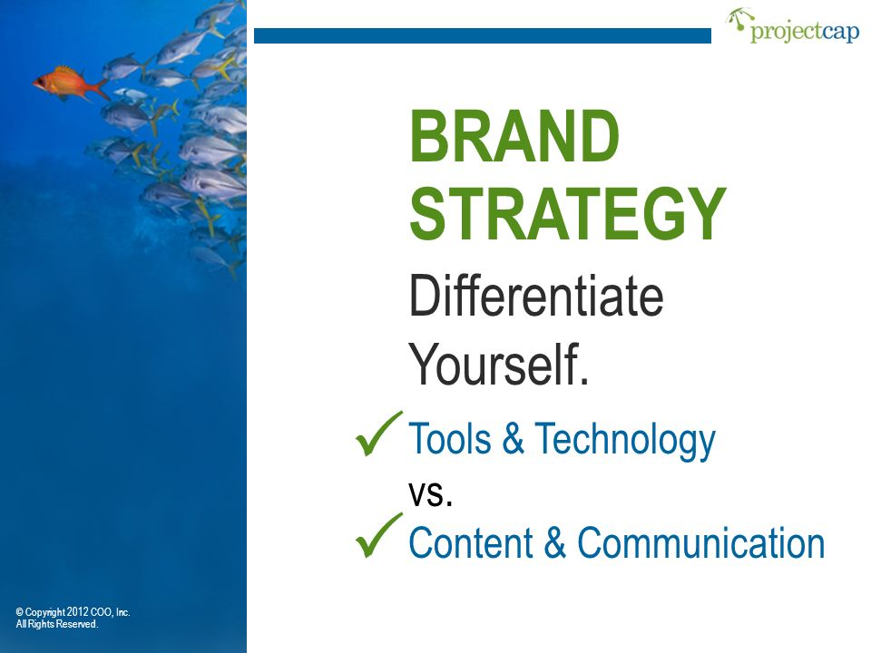 Differentiate Yourself. BRAND STRATEGY Tools & Technology vs. Content & Communication © Copyright 2012 COO, Inc. All Rights Reserved.