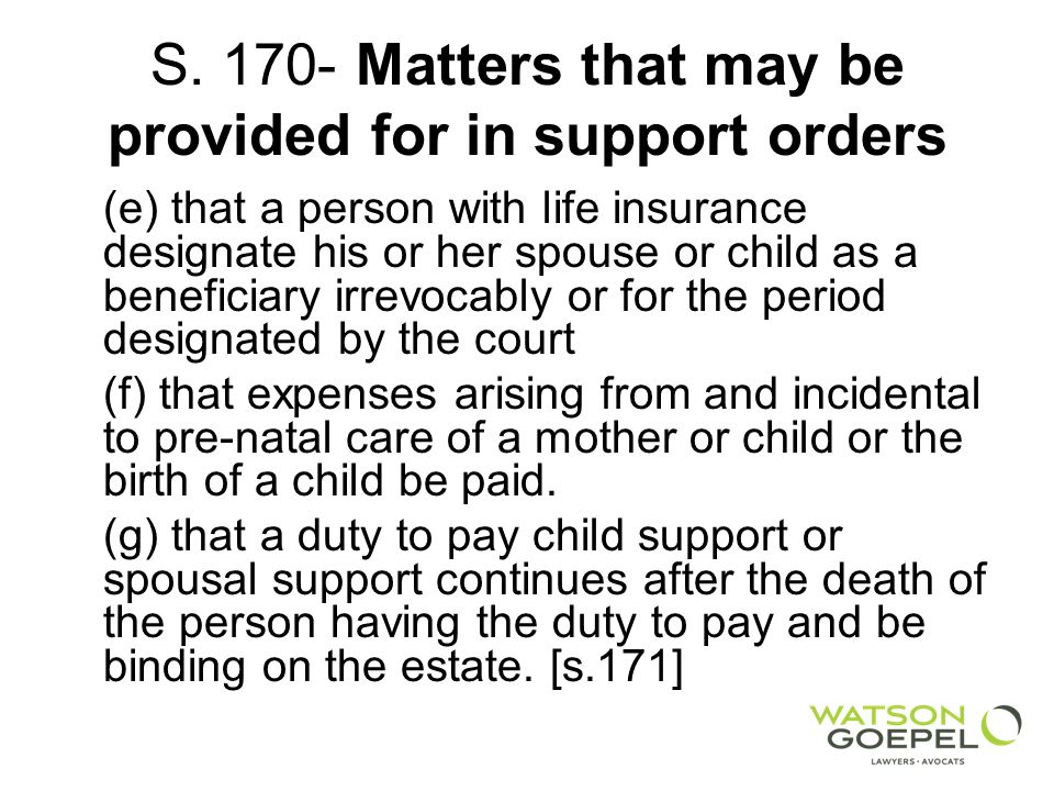 S. 170- Matters that may be provided for in support orders (e) that a person with life insurance designate his or her spouse or child as a beneficiary