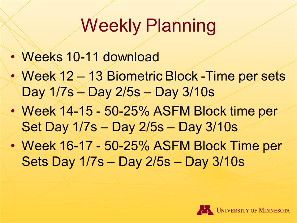 Weekly Planning Weeks 10-11 download Week 12 – 13 Biometric Block -Time per sets Day 1/7s – Day 2/5s – Day 3/10s Week 14-15 - 50-25% ASFM Block time p