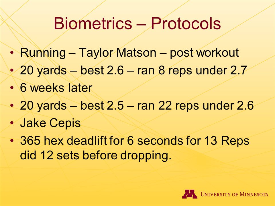 Biometrics – Protocols Running – Taylor Matson – post workout 20 yards – best 2.6 – ran 8 reps under 2.7 6 weeks later 20 yards – best 2.5 – ran 22 re