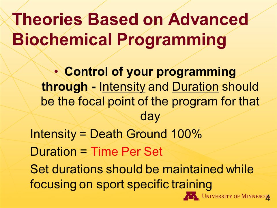 Theories Based on Advanced Biochemical Programming Control of your programming through - Intensity and Duration should be the focal point of the progr