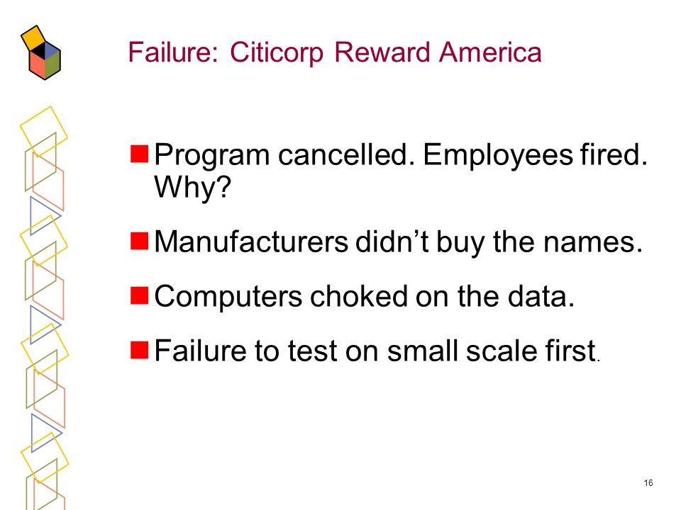 16 Failure: Citicorp Reward America Program cancelled.