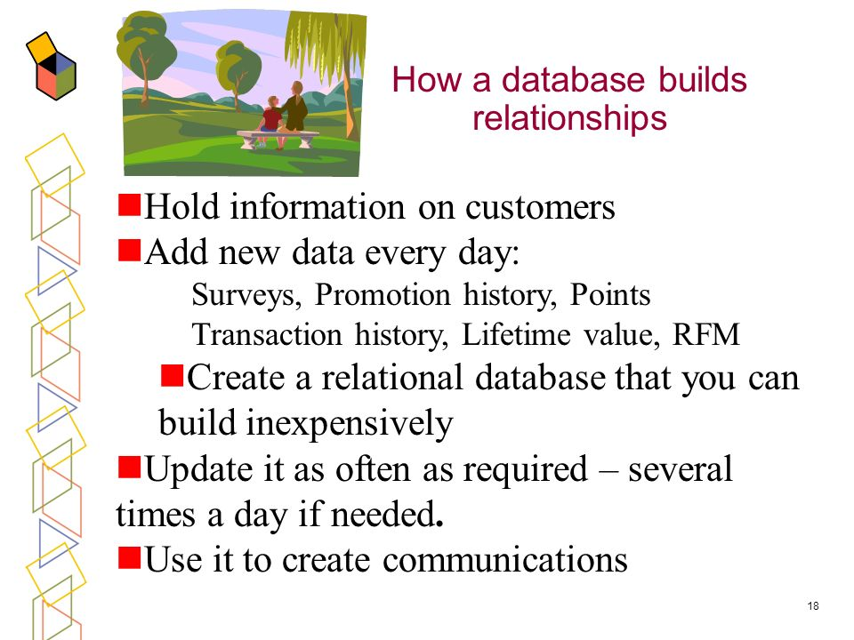 18 How a database builds relationships Hold information on customers Add new data every day: Surveys, Promotion history, Points Transaction history, Lifetime value, RFM Create a relational database that you can build inexpensively Update it as often as required – several times a day if needed.