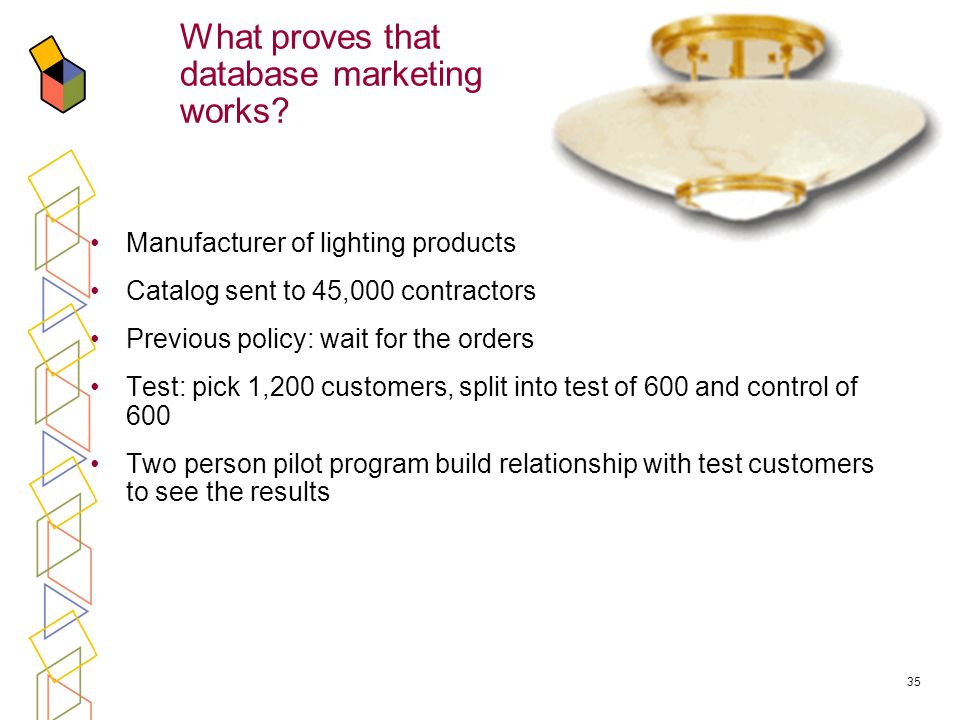 35 Manufacturer of lighting products Catalog sent to 45,000 contractors Previous policy: wait for the orders Test: pick 1,200 customers, split into test of 600 and control of 600 Two person pilot program build relationship with test customers to see the results What proves that database marketing works?