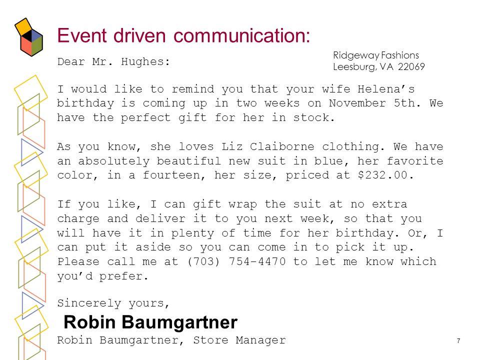 7 Event driven communication: Dear Mr.