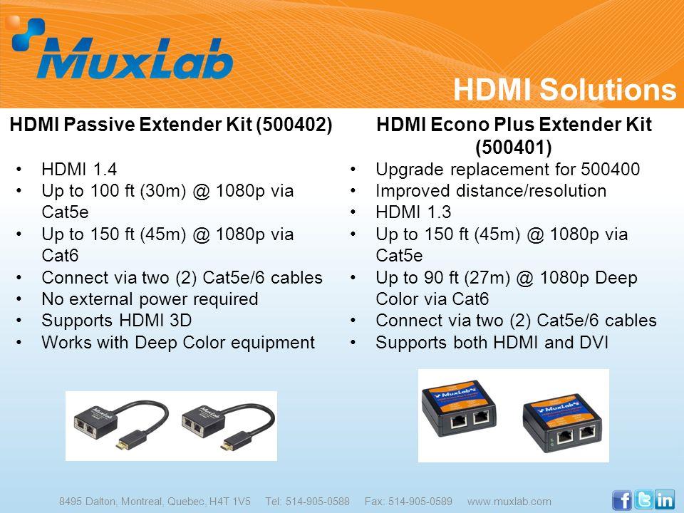HDMI Solutions 8495 Dalton, Montreal, Quebec, H4T 1V5 Tel: 514-905-0588 Fax: 514-905-0589 www.muxlab.com HDMI Passive Extender Kit (500402) HDMI 1.4 U