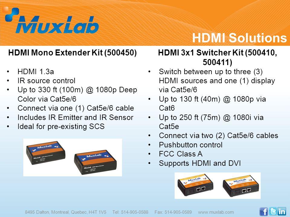 HDMI Solutions 8495 Dalton, Montreal, Quebec, H4T 1V5 Tel: 514-905-0588 Fax: 514-905-0589 www.muxlab.com HDMI Mono Extender Kit (500450) HDMI 1.3a IR