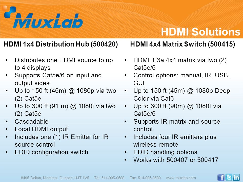 HDMI Solutions 8495 Dalton, Montreal, Quebec, H4T 1V5 Tel: 514-905-0588 Fax: 514-905-0589 www.muxlab.com HDMI 1x4 Distribution Hub (500420) Distribute
