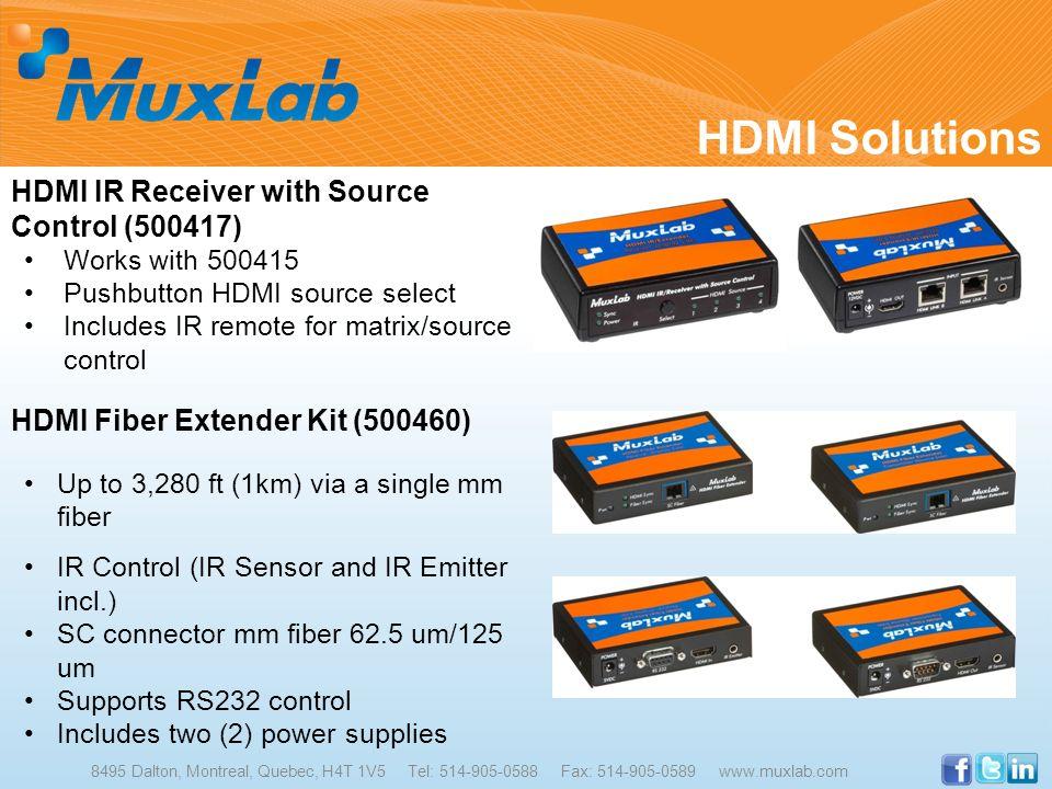 HDMI Solutions 8495 Dalton, Montreal, Quebec, H4T 1V5 Tel: 514-905-0588 Fax: 514-905-0589 www.muxlab.com HDMI IR Receiver with Source Control (500417)