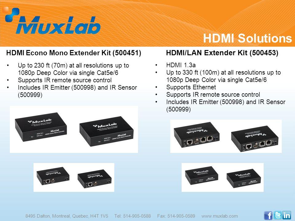HDMI Solutions 8495 Dalton, Montreal, Quebec, H4T 1V5 Tel: 514-905-0588 Fax: 514-905-0589 www.muxlab.com HDMI Econo Mono Extender Kit (500451) Up to 2