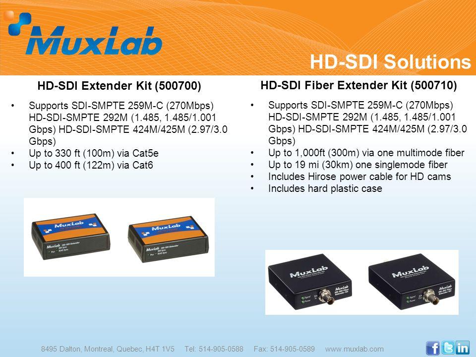 HD-SDI Solutions 8495 Dalton, Montreal, Quebec, H4T 1V5 Tel: 514-905-0588 Fax: 514-905-0589 www.muxlab.com HD-SDI Extender Kit (500700) Supports SDI-S