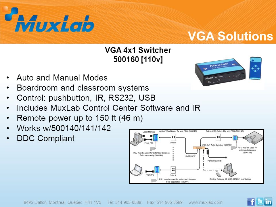 VGA Solutions 8495 Dalton, Montreal, Quebec, H4T 1V5 Tel: 514-905-0588 Fax: 514-905-0589 www.muxlab.com VGA 4x1 Switcher 500160 [110v] Auto and Manual