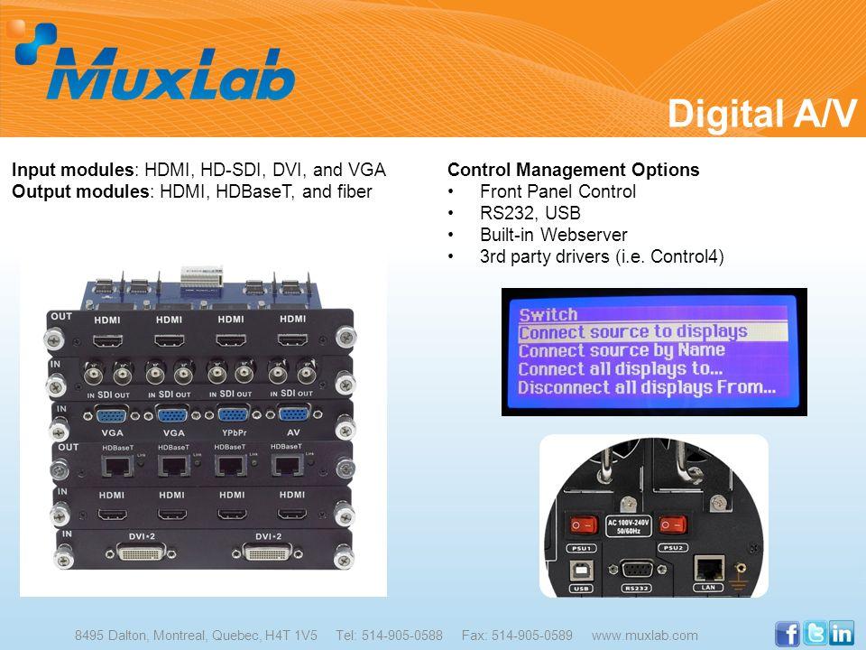 Digital A/V 8495 Dalton, Montreal, Quebec, H4T 1V5 Tel: 514-905-0588 Fax: 514-905-0589 www.muxlab.com Input modules: HDMI, HD-SDI, DVI, and VGA Output