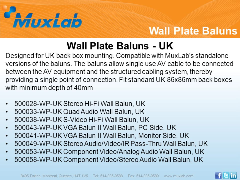Wall Plate Baluns - UK Designed for UK back box mounting. Compatible with MuxLab's standalone versions of the baluns. The baluns allow single use AV c