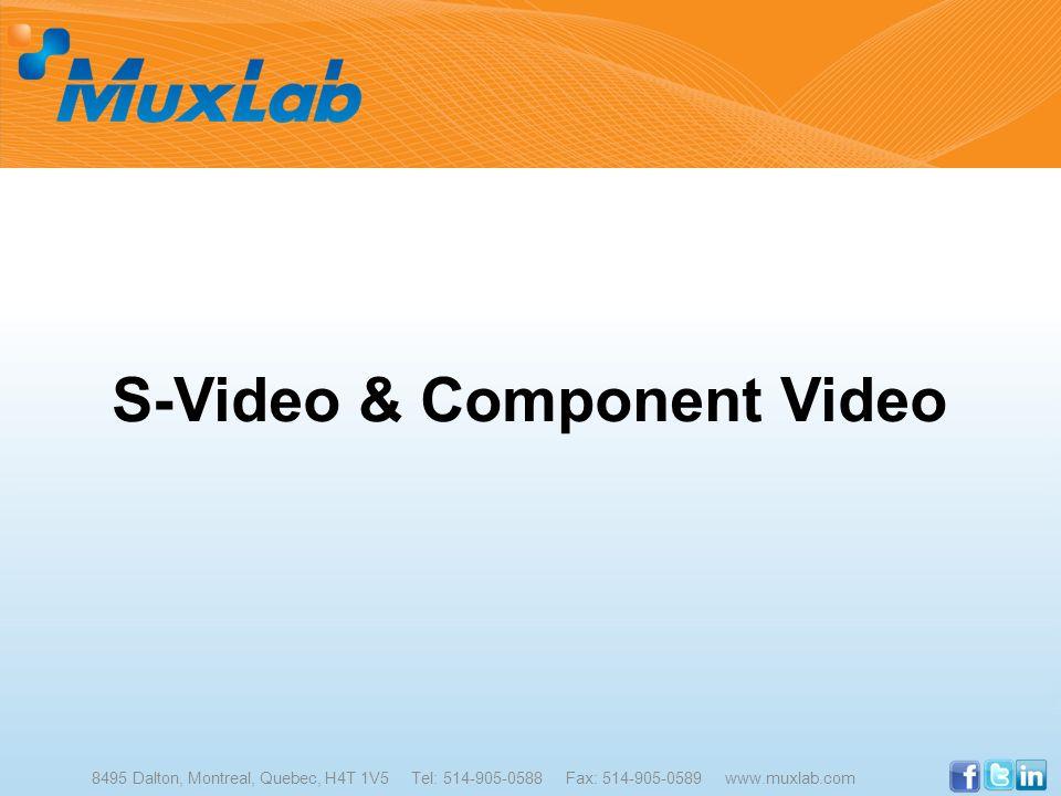 S-Video & Component Video 8495 Dalton, Montreal, Quebec, H4T 1V5 Tel: 514-905-0588 Fax: 514-905-0589 www.muxlab.com