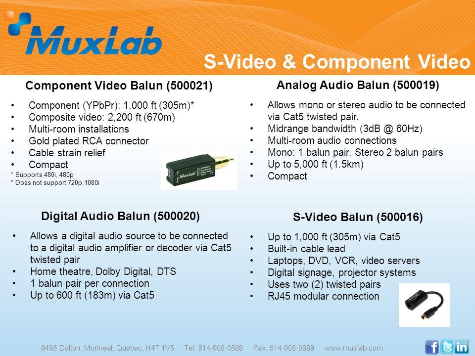 S-Video & Component Video 8495 Dalton, Montreal, Quebec, H4T 1V5 Tel: 514-905-0588 Fax: 514-905-0589 www.muxlab.com Component Video Balun (500021) Com