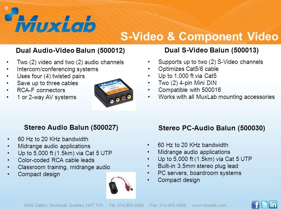 S-Video & Component Video 8495 Dalton, Montreal, Quebec, H4T 1V5 Tel: 514-905-0588 Fax: 514-905-0589 www.muxlab.com Dual Audio-Video Balun (500012) Tw