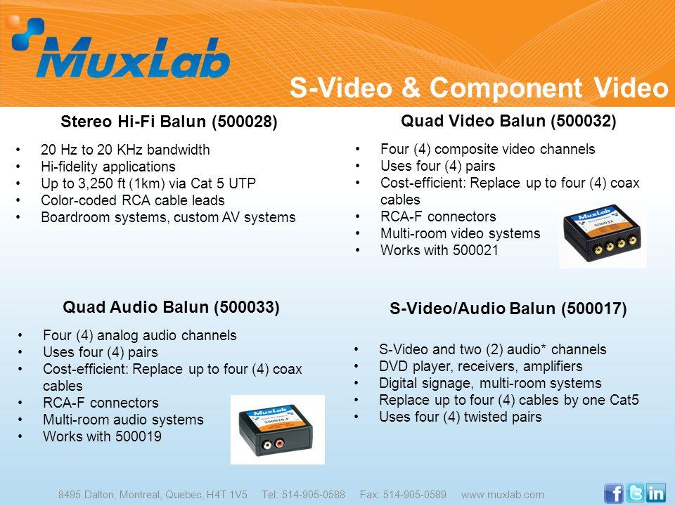 S-Video & Component Video 8495 Dalton, Montreal, Quebec, H4T 1V5 Tel: 514-905-0588 Fax: 514-905-0589 www.muxlab.com Stereo Hi-Fi Balun (500028) 20 Hz