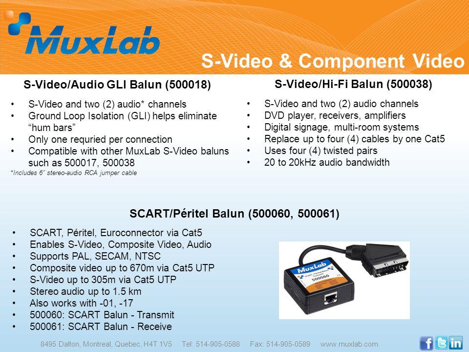 S-Video & Component Video 8495 Dalton, Montreal, Quebec, H4T 1V5 Tel: 514-905-0588 Fax: 514-905-0589 www.muxlab.com S-Video/Audio GLI Balun (500018) S