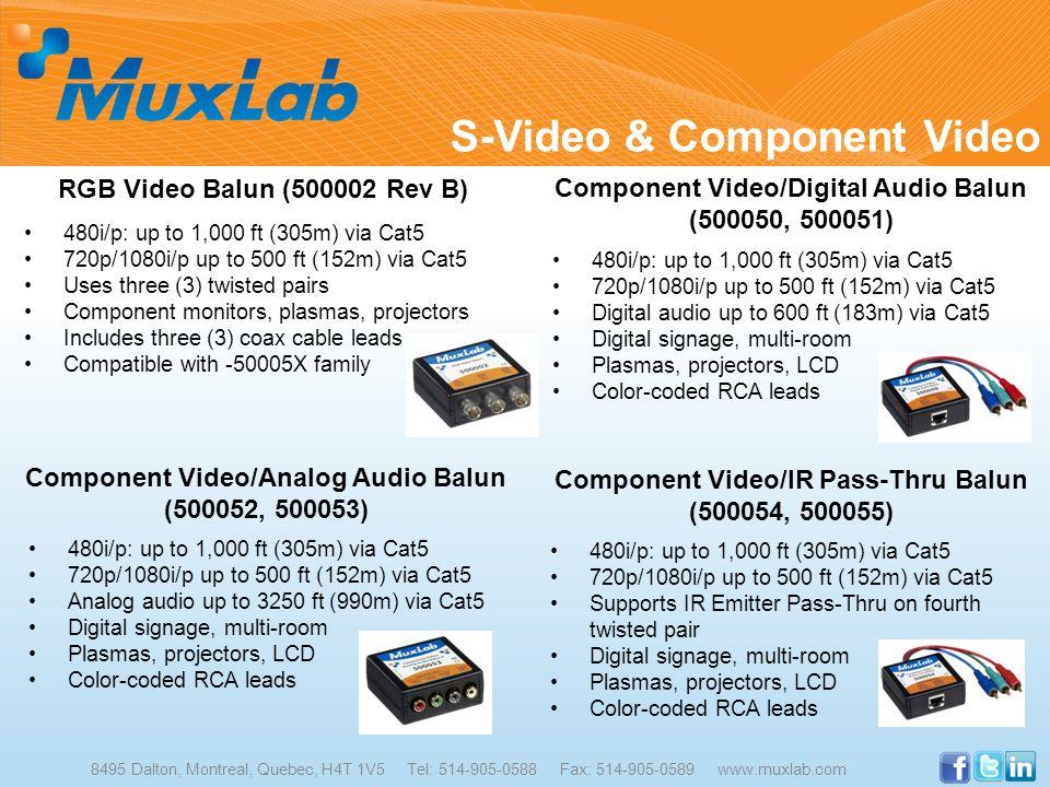 8495 Dalton, Montreal, Quebec, H4T 1V5 Tel: 514-905-0588 Fax: 514-905-0589 www.muxlab.com RGB Video Balun (500002 Rev B) 480i/p: up to 1,000 ft (305m)
