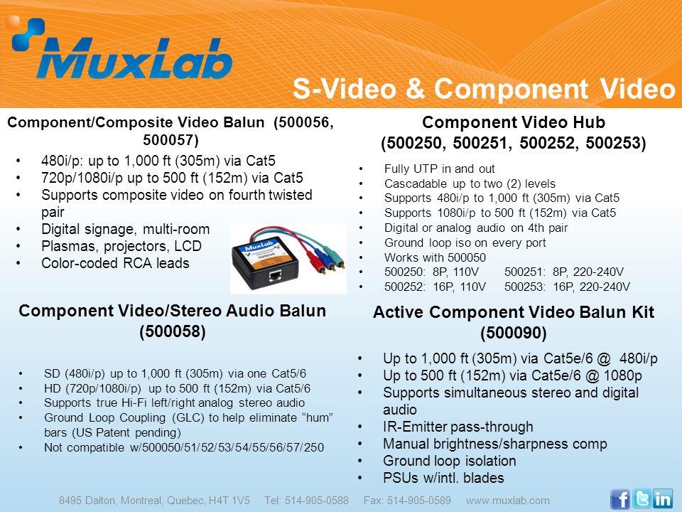 S-Video & Component Video 8495 Dalton, Montreal, Quebec, H4T 1V5 Tel: 514-905-0588 Fax: 514-905-0589 www.muxlab.com Component/Composite Video Balun (5