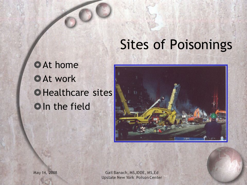 May 14, 2008Gail Banach, MS,IDDE, MS,Ed Upstate New York Poison Center Sites of Poisonings At home At work Healthcare sites In the field
