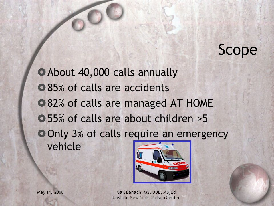 May 14, 2008Gail Banach, MS,IDDE, MS,Ed Upstate New York Poison Center Scope About 40,000 calls annually 85% of calls are accidents 82% of calls are m