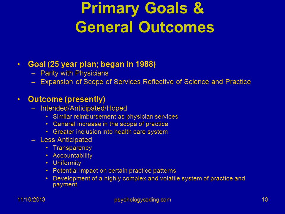 11/10/2013 Primary Goals & General Outcomes Goal (25 year plan; began in 1988) –Parity with Physicians –Expansion of Scope of Services Reflective of S