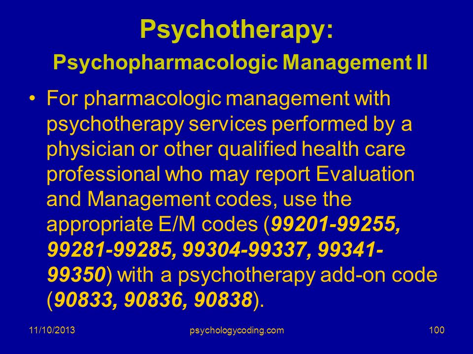 Psychotherapy: Psychopharmacologic Management II For pharmacologic management with psychotherapy services performed by a physician or other qualified