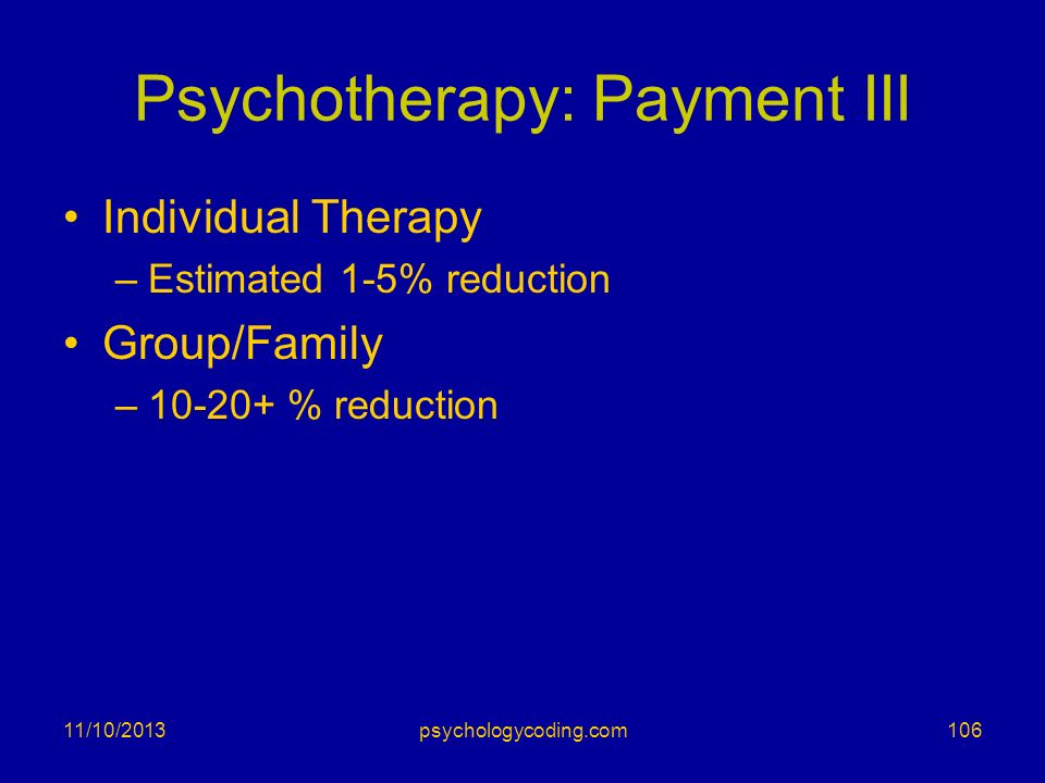 Psychotherapy: Payment III Individual Therapy –Estimated 1-5% reduction Group/Family –10-20+ % reduction 11/10/2013106psychologycoding.com