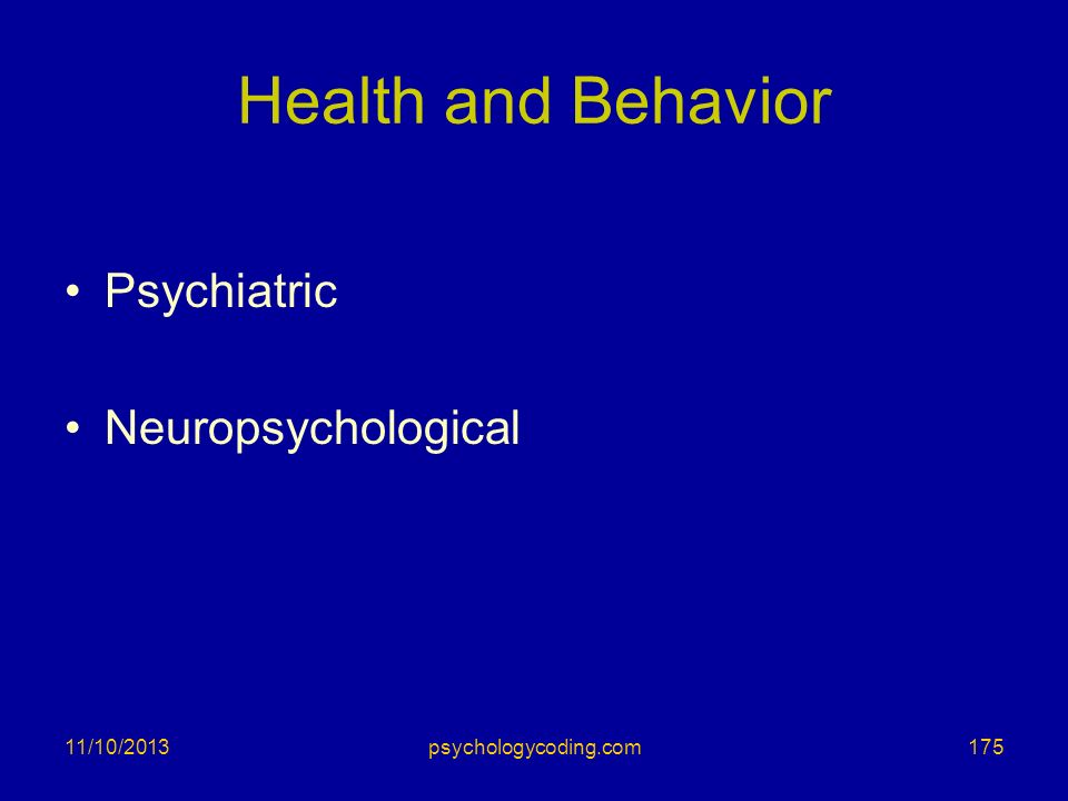 Health and Behavior Psychiatric Neuropsychological 11/10/2013175psychologycoding.com