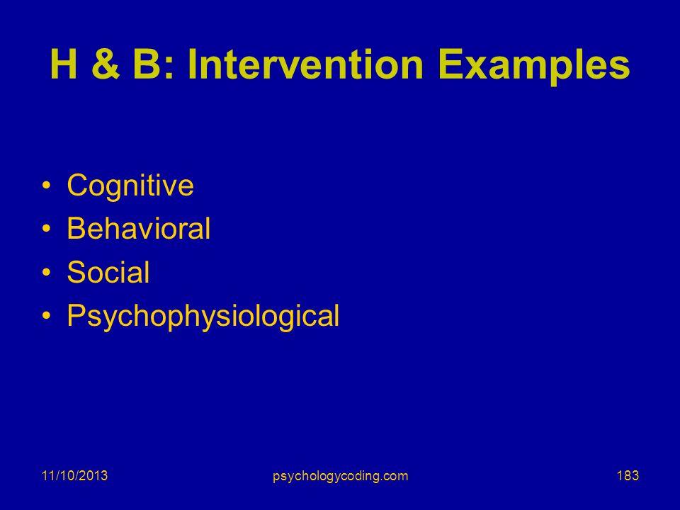 11/10/2013 H & B: Intervention Examples Cognitive Behavioral Social Psychophysiological 183psychologycoding.com