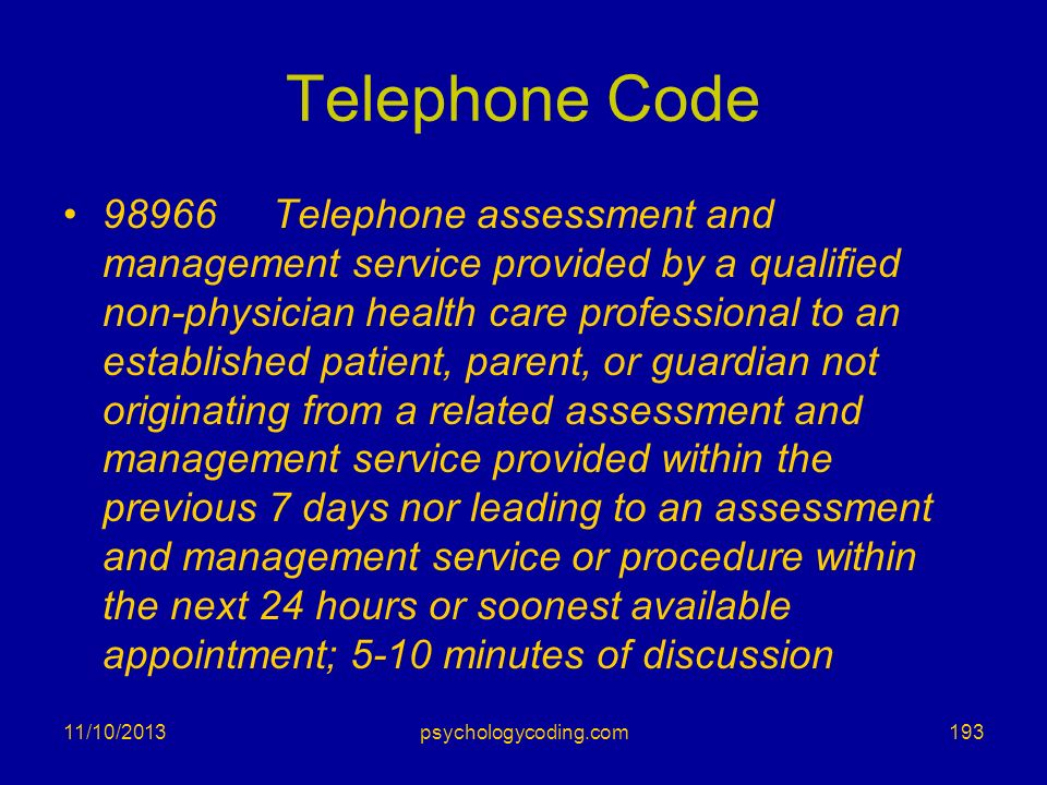 Telephone Code 98966 Telephone assessment and management service provided by a qualified non-physician health care professional to an established pati