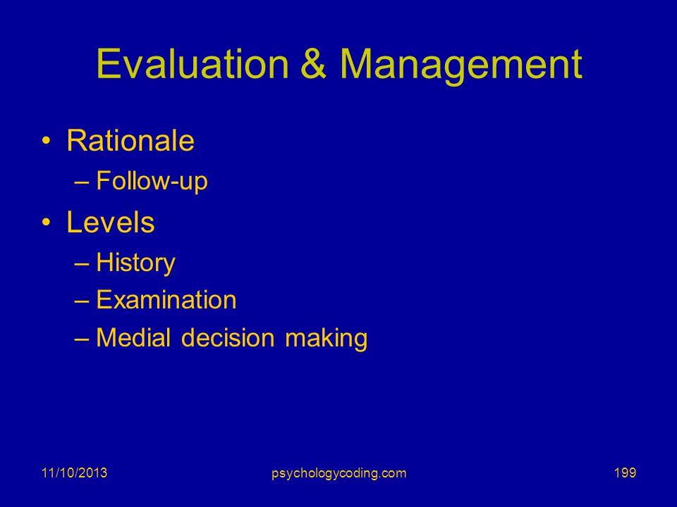 Evaluation & Management Rationale –Follow-up Levels –History –Examination –Medial decision making 11/10/2013199psychologycoding.com