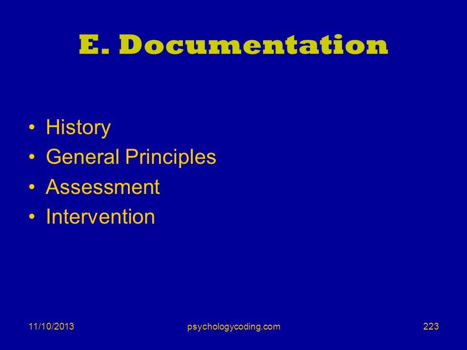 11/10/2013 E. Documentation History General Principles Assessment Intervention 223psychologycoding.com