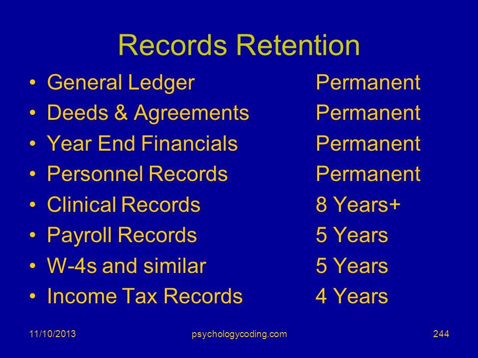 Records Retention General LedgerPermanent Deeds & AgreementsPermanent Year End FinancialsPermanent Personnel RecordsPermanent Clinical Records 8 Years